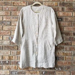 Eileen Fisher XS Organic Linen Button Front Jacket